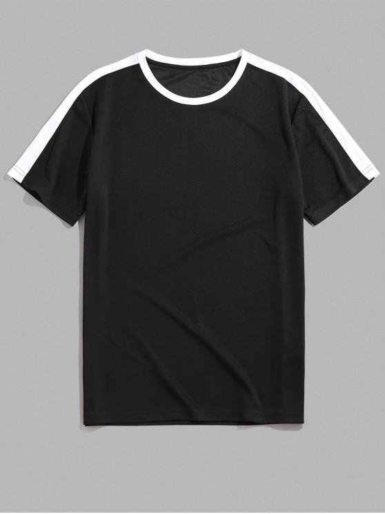 ZAFUL Culoare înnădite gât rotund T-shirt - Negru 2XL