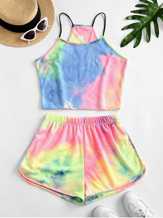 shop Rainbow Tie Dye Top And Shorts Set - GREEN XL