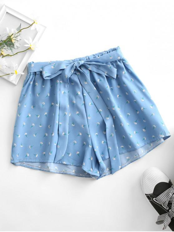 online Tie Ditsy Print Pull On Shorts - BLUE S