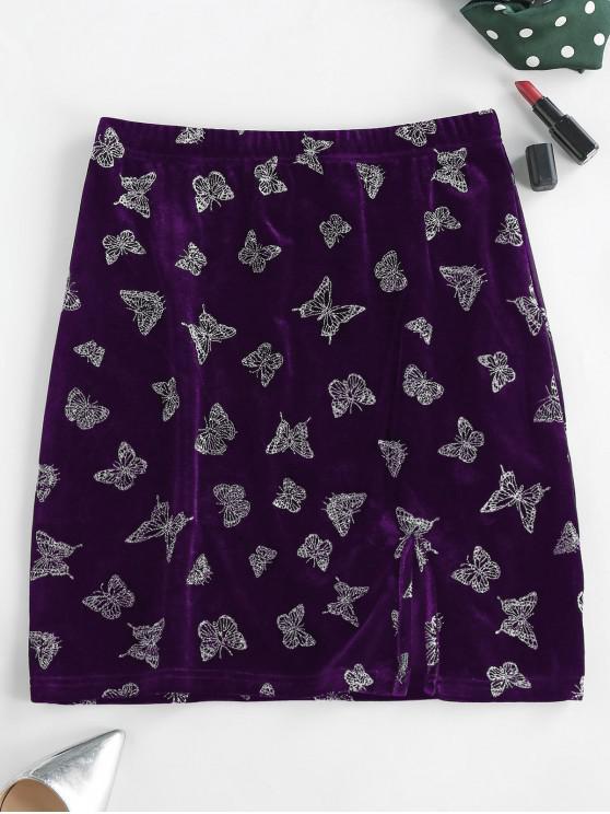 shop ZAFUL Glitter Butterfly Velvet Skirt - DARK ORCHID M