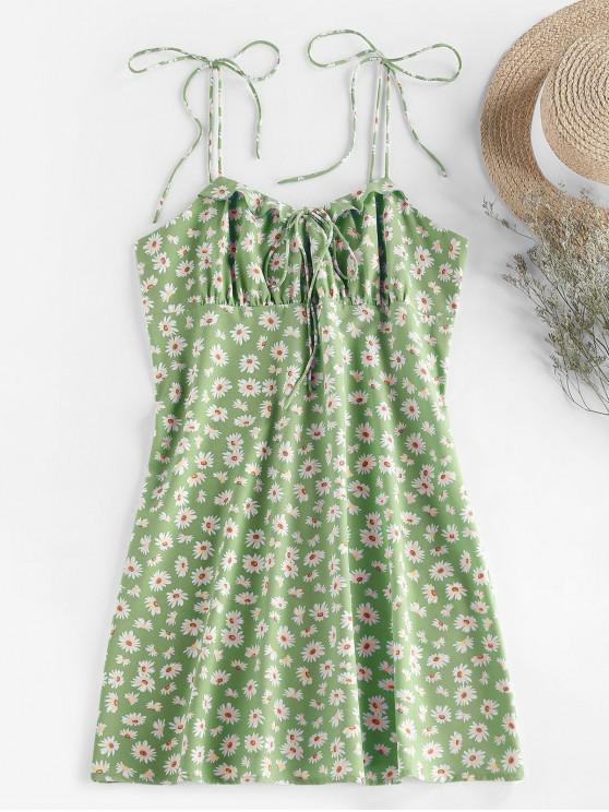 outfit ZAFUL Daisy Print Tie Shoulder Ruffle Mini Dress - GREEN S