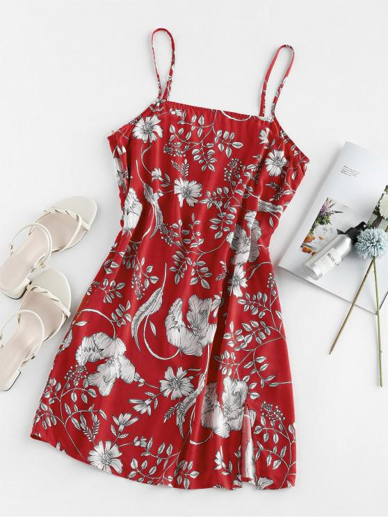 affordable ZAFUL Floral Print Slit Mini Cami Dress - RED M