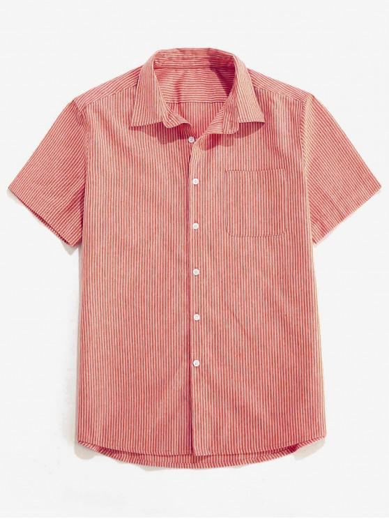 ZAFUL Stripe Pocket Button Up Shirt - أحمر S