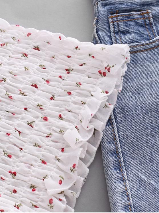 Ditsy Floral Smocked Slim Cami Top - White | ZAFUL