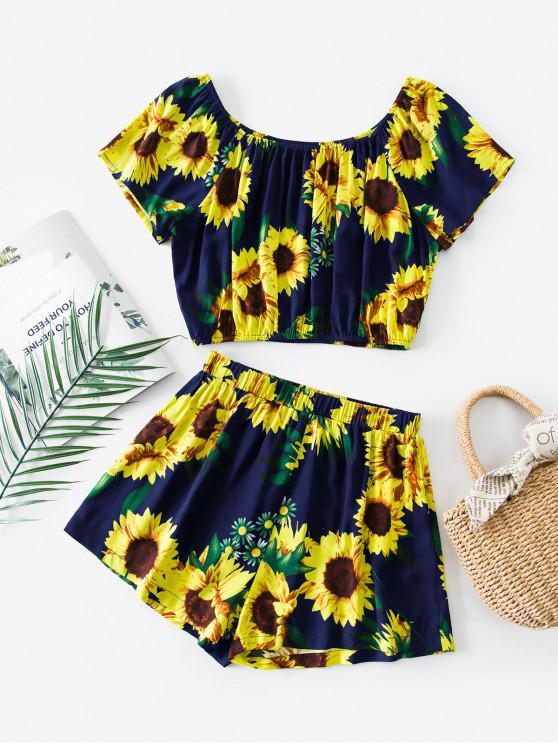 women's ZAFUL Sunflower Print Co Ord Set - CADETBLUE S