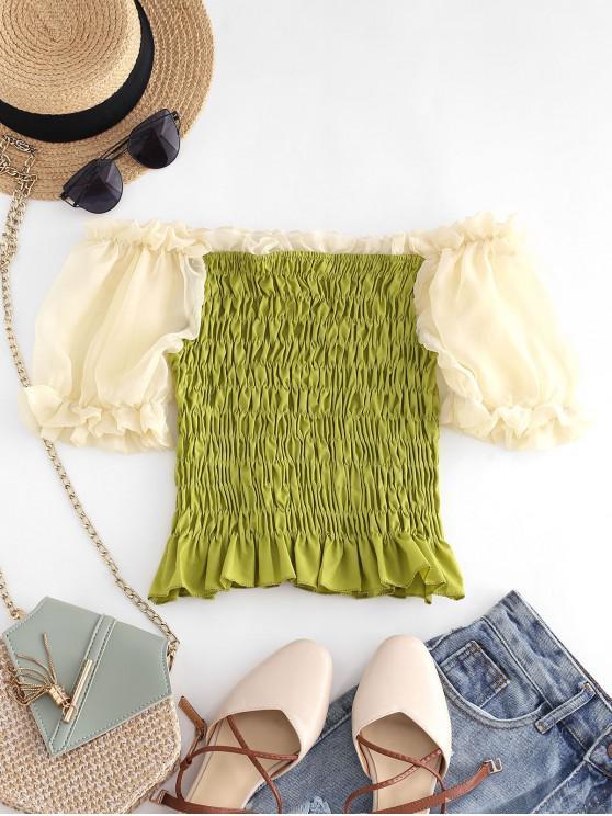 chic Sheer Puff Sleeve Smocked Ruffle Top - GREEN L