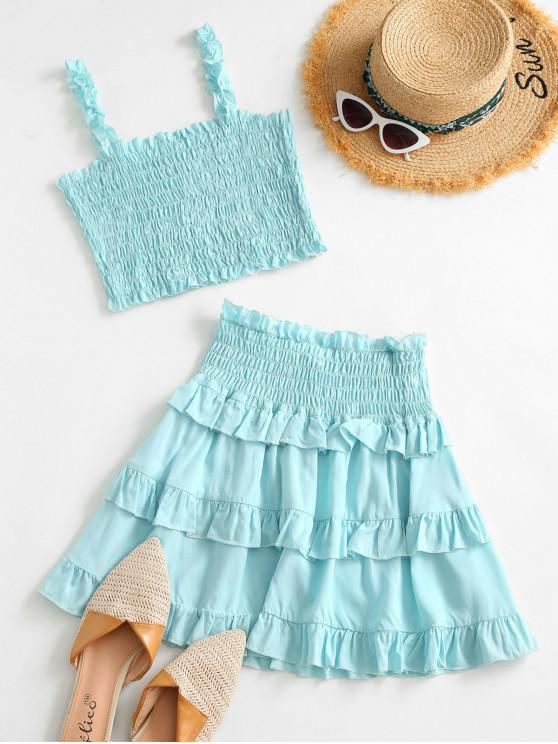 hot Tiered Ruffle Smocked Two Piece Dress - LIGHT BLUE S