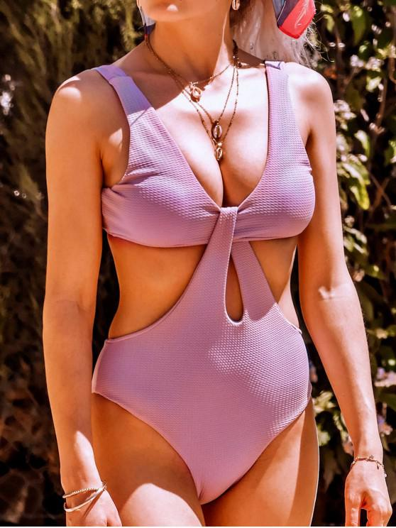 trendy Texture Twisted Cutout Trikini Swimsuit - MAUVE S