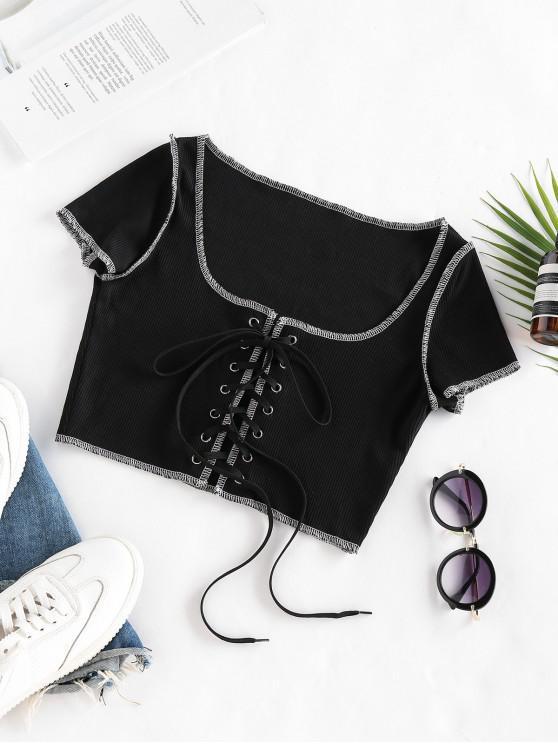 unique Lace Up Stitching Ribbed Crop T Shirt - BLACK S
