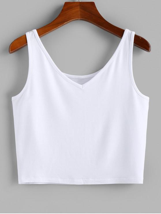 affordable ZAFUL Heather V Neck Crop Tank Top - WHITE S