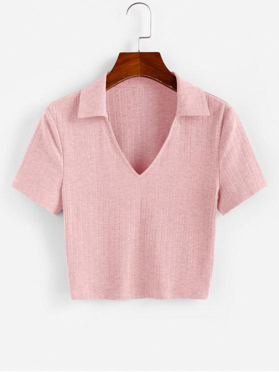 ladies ZAFUL Ribbed V Notched Crop T-shirt - PINK M