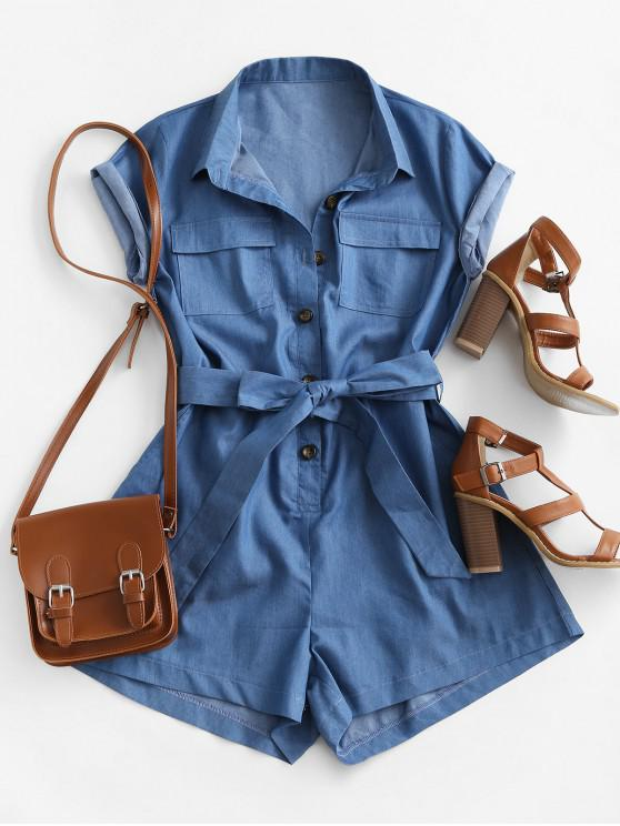 Belted Pockets Chambray Cargo Romper - أزرق XL