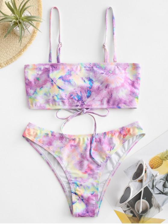 ZAFUL Tie Dye Lace Up Tube Bikini Swimwear - متعددة-B S