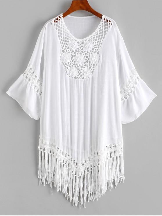 Vestido de Saída de Praia com Crochê com Franjas - Branco Um Tamanho