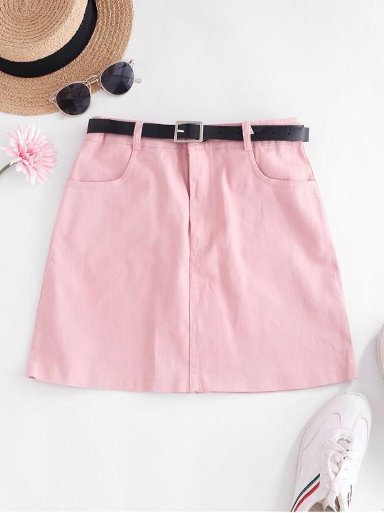 online Buckle Belted Pockets Mini Skirt - LIGHT PINK S