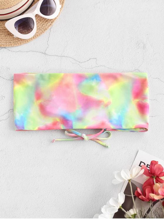 online ZAFUL Tie Dye Lace-up Bandeau Bikini Top - LIGHT PINK S