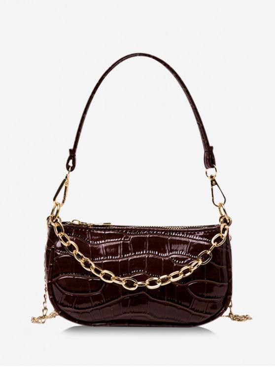 Chain Textured Shoulder Bag - القهوة العميقة