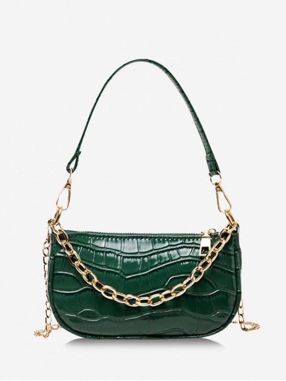hot Chain Textured Shoulder Bag - DEEP GREEN