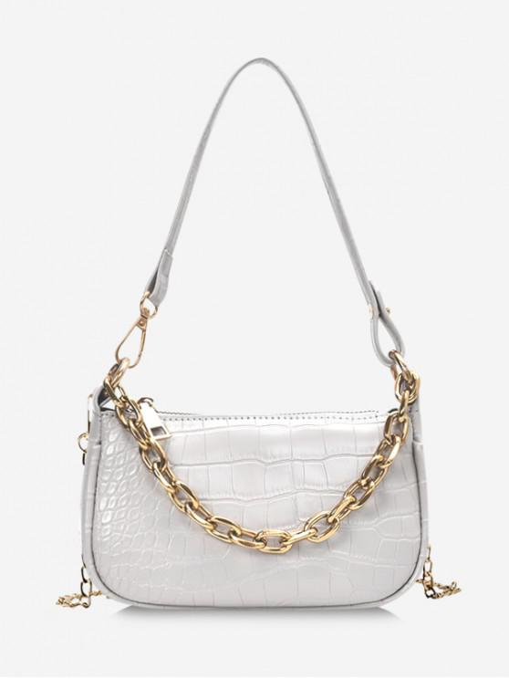 new Chain Textured Shoulder Bag - WHITE