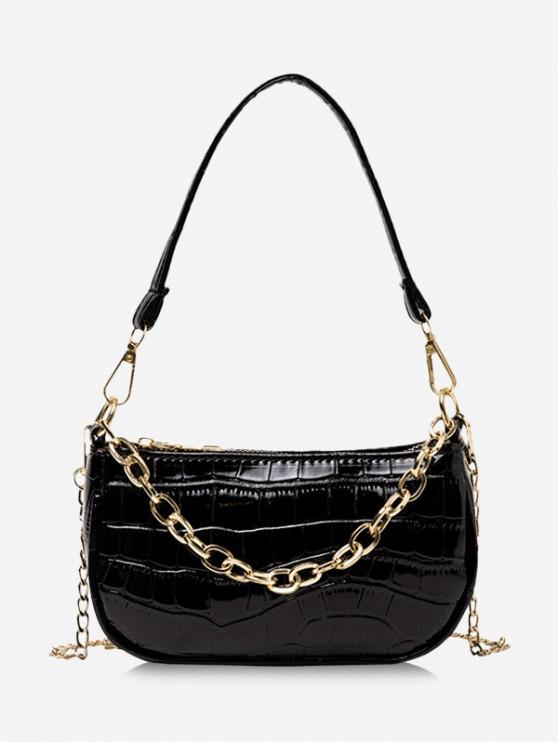 online Chain Textured Shoulder Bag - BLACK