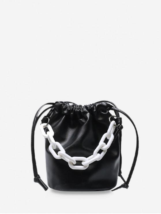 Gros lanț crossbody Bucket Bag - Negru