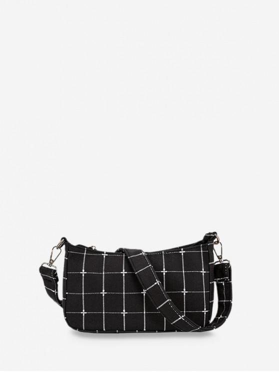 outfits Retro Plaid Pattern Shoulder Bag - BLACK