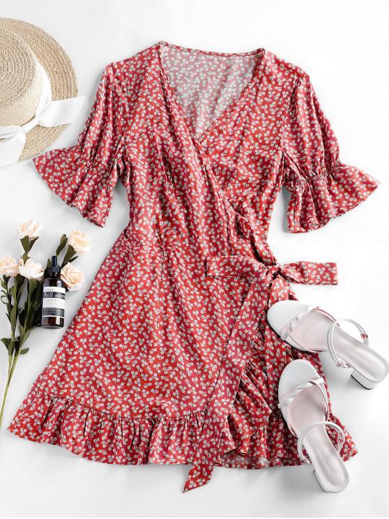 fashion ZAFUL Ditsy Print Poet Sleeve Flippy Hem Dress - RED M