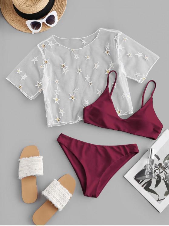 lady ZAFUL Sequined Star Mesh Low Waisted Three Pieces Bikini Swimwear - DEEP RED M