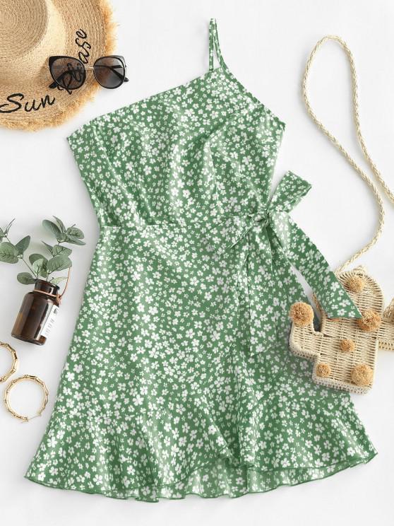 outfit ZAFUL Ditsy Print One Shoulder Overlap Flounce Hem Dress - DARK SEA GREEN XL