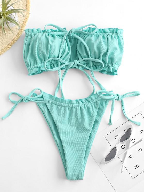 ZAFUL Bandeau Bikini Badebekleidung mit Strukturierter Rüsche - Celeste S