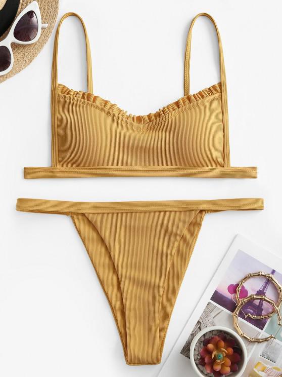 ZAFUL Gerüschter Gerippter Bikini Badebekleidung mit Hohem Bein - Gelb S