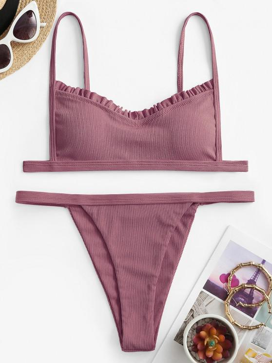 shops ZAFUL Frilled Trims High Leg Ribbed Bikini Swimwear - LIGHT PINK S