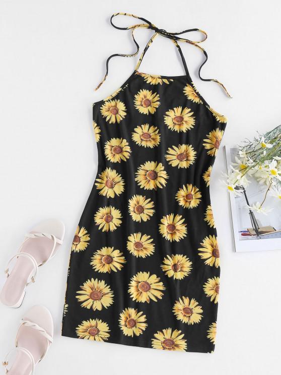 chic ZAFUL Flower Print Halter Backless Bodycon Dress - BLACK L