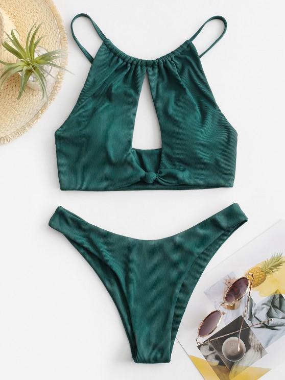 ZAFUL Ribbed Knot Cutout High Leg Bikini Swimwear - ازرق مخضر S