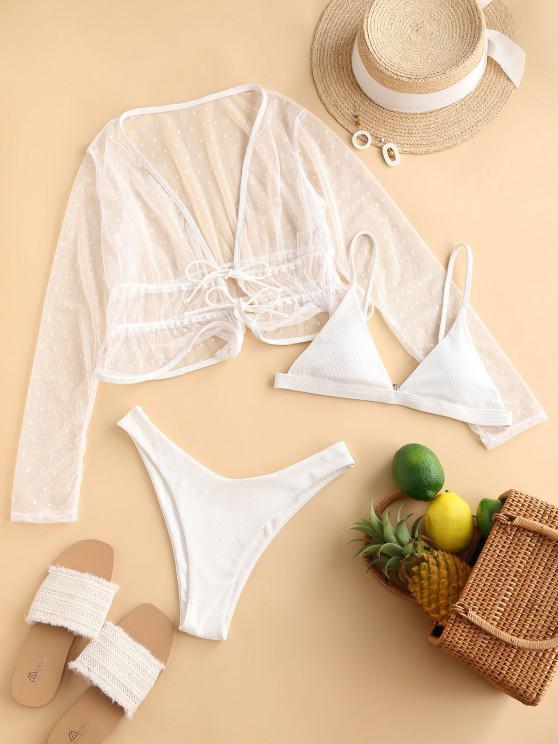 shops ZAFUL Ribbed High Leg Dotted Lace Three Piece Bikini Swimwear - WHITE S