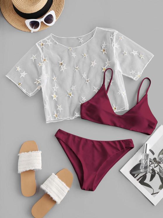 shops ZAFUL Sequined Star Mesh Low Waisted Three Pieces Bikini Swimwear - DEEP RED S