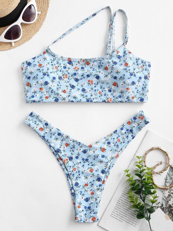 ZAFUL Einziger Schulter Ditsydruck Bikini Badebekleidung mit Hohem Bein - Hellblau S