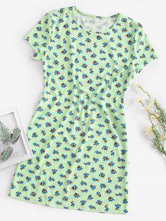 Robe Chemise Fleurie Côtelée - Vert S