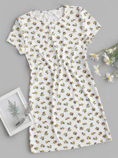 Ribbed Ditsy Floral T-shirt Dress - White L