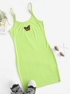 Butterfly Patched Y2K Bodycon Cami Dress - Green Xl