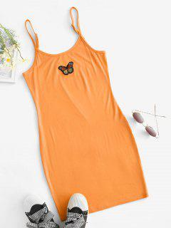 Butterfly Patched Y2K Bodycon Cami Dress - Orange S
