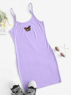 Butterfly Patched Y2K Bodycon Cami Dress - Light Purple M