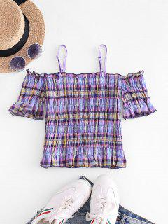 Plaid Smocked Cold Shoulder Crop Top - Light Purple