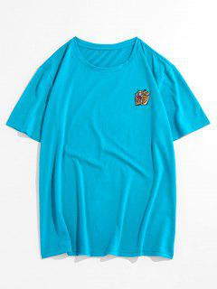 ZAFUL Tiger Embroidered Short Sleeves T-shirt - Blue Zircon 2xl