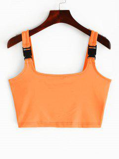 Buckle Straps Neon Crop Tank Top - Orange S
