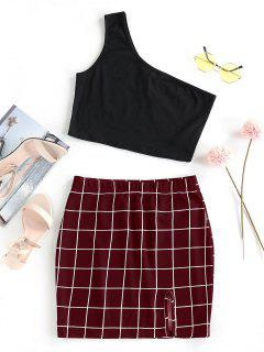 ZAFUL One Shoulder  Grid Two Piece Dress - Firebrick L