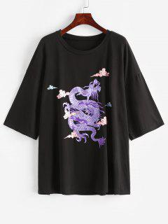 Drachenstickerei Boyfriend T-Shirt - Schwarz M