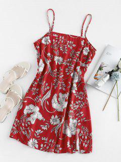 ZAFUL Floral Print Slit Mini Cami Dress - Red S
