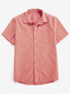 ZAFUL Stripe Pocket Button Up Shirt - Red Xl