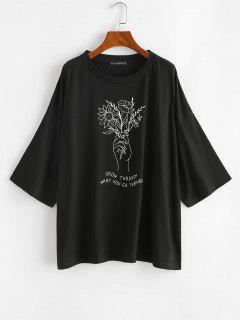 Boyfriend T-Shirt Grafica A Schizzo Di Fiori Con Spalle Scivolate - Nero L